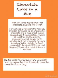 Chocolate Cake in a Mug - Slimming World Slimming World Deserts, Slimming World Puddings, Slimming World Recipes Syn Free, Slimming World Syns, Slimming Eats, Options Hot Chocolate, Slimming Word, Mug Recipes, Snacks Recipes