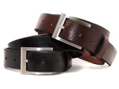 BLACK BRIDLE LEATHER BELT//ANTIQUE SILVER FINISH BUCKLE AMISH MADE IN THE USA