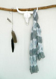 WANDERER . tie dye scarf . grey gray . boho gypsy by bohemianbabes