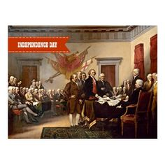 """Independence Day, 4th of July Fine Art Business / Corporate Postcards. """"Declaration of Independence"""", oil on canvas, circa 1819. Artist: John Trumbull (1756–1843). Matching cards, postage stamps and gift products available in the Holidays / 4th of July Category of the oldandclassic store at zazzle.com"""