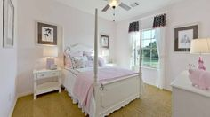 Simple, elegant girl's bedroom in the Long Meadows Farms model home. #NewHomes #Houston