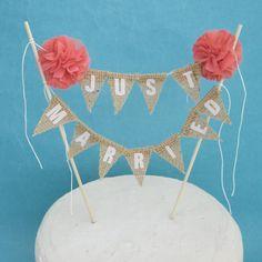 Rustic burlap wedding Cake banner wedding by Hartranftdesign, $34.00