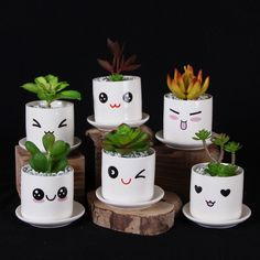 Cute Mini Porcelain Flowerpot Desk Succulent Vase Cylinder Decoration Craft Creative Emoji Pot-in Flower Pots & Planters from Home & Garden on Alie - Decorated Flower Pots, Painted Flower Pots, Painted Pots, Tin Can Crafts, Diy And Crafts, Crafts For Kids, Flor Emoji, Diy Flowers, Flower Vases