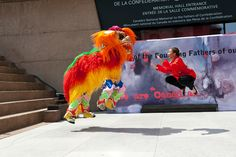 Acrobatics during the Dragon Dance
