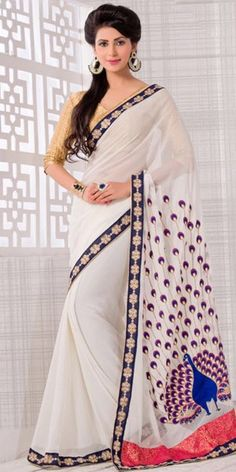 Nice-looking Embroidered Pallu Saree in Off White.