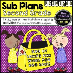 Second Grade Substitute Plans  This 'Bag of Tricks' is perfect for SECOND GRADE teachers who need last minute activities for a sub or just some extra activities to get through the day. You can print out the activities ahead of time, make copies and add them to your daily routines and general substitute information folder.