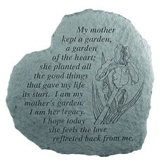 Celebrate and honor a final resting place and create a lasting memorial to a loved one with our solid cast stone, heart-shaped memorial garden marker. Memorial Garden Stones, Garden Stepping Stones, Memorial Gardens, Give It To Me, Just For You, Garden Markers, Spiritual Messages, Cast Stone, Sympathy Gifts