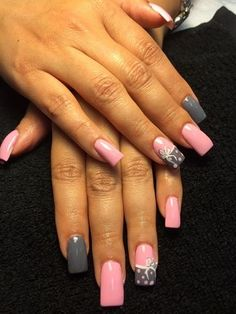 awesome Pink And Gray by Isha from Nail Art Gallery