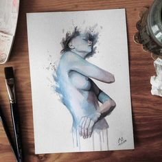 Watercolor study sketch for new painting #figure #woman #watercolor #painting #sketch #study #art #miro_z #waterblog #cartel_watercolorists #arts_help #beautifulbizarre #drawingthesoul #artcomplex #artist_4_shoutout