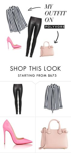 """""""Blavk&white & pink"""" by pauleblumail on Polyvore featuring moda, The Row, Mulberry, Christian Louboutin y Burberry"""