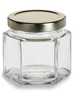 Specialty Bottle - 4 oz (120 ml) Squat Hexagon Glass Jar with Gold Lid, $0.90 (http://www.specialtybottle.com/glass-jars/hexagon/4oz-hex4)