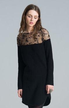 Knit Dress   Black Dress   Cocktail Dress   See Trough Dress   Day Dress    Loose Dress   Sweater Dress   Marcellamoda - MD0180. Robe Tricot  Robe Pull  ... 711da9eeaa88