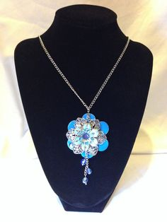 Flower Necklace bright blue long with blue beads #Etsy #Favorite #EtsyFav #Share #EtsyShop Shared by #BaliTribalJewelry http://etsy.me/1sDZ302