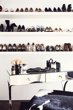 shoe shelves + makeup station