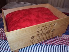 PET BED Recyled Wine Crate Dog or Cat sleeping bed Pampered pets Pet Lovers gift. $55.00, via Etsy.