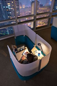 Can't Focus In Your Open Office? Wrap Yourself In This New Cocoon To Tune Out Distraction Open Office, Smart Office, Office Space Design, Office Interior Design, Cool Office Space, Workspace Design, Library Design, Corporate Interiors, Office Interiors