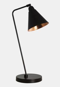 New-York black & copper table lamp Copper Table Lamp, Black Table Lamps, Game Black, Retro Lamp, Candle Lamp, House Doctor, Table Games, Desk Lamp, Lighting Design
