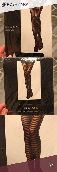 Leg Avenue Tights Leg Avenue tights, brand new, never worn! Has a solid and see through black stripes. Leg Avenue Accessories Hosiery & Socks