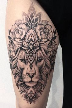 tattoos for women after mastectomy Dope Tattoos, Pretty Tattoos, Body Art Tattoos, Tattoo Drawings, Front Thigh Tattoos, Upper Thigh Tattoos, Lion Tattoo On Thigh, Piercing Tattoo, Piercings