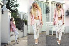 I want to make these pants! + Distressed white denim + made by BENGT