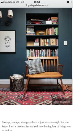 Inspiration for the HW Room - Emily Henderson, Farrow & Ball Hague Blue, Reading Nook, Leather Chair, Gallery Wall Dark Paint Colors, Wall Colors, Home Design, Interior Design, Interior Office, Design Ideas, Kitchen Interior, Bookshelves Built In, Bookcases
