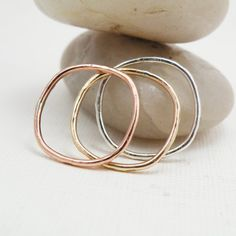 Triple stack tri-colored rings