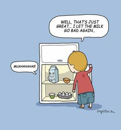 Funny pictures about The Milk Went Bad. Oh, and cool pics about The Milk Went Bad. Also, The Milk Went Bad photos. Cute Puns, Funny Cute, The Funny, Hilarious, Memes Humor, Funny Memes, Jokes, Funny Doodles, Have A Laugh