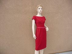 1960's Emma Domb Vintage Red Velvet  Evening by LostYearsVintage