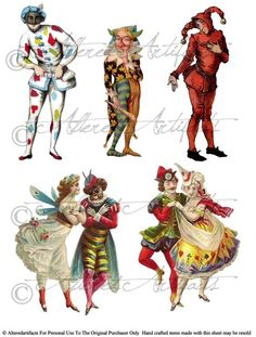 Jokesters Circus Clowns Jesters Vintage Altered Art Scrap Digital Collage Sheet for your Puppet Theaters via Etsy