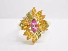 14k Yellow Gold Pink Sapphire Peridot Citrine Diamond Cluster Ring #2984 #WithDiamondsGemstones