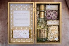 Wedding welcome box with champagne and snacks, by Coral Pheasant.