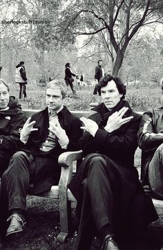 John Watson/Martin Freeman and Sherlock Holmes/Benedict Cumberbatch doing gang signs and looking like a couple of bamfs *nerd fighter Benedict ; Johnlock, Sherlock Bbc, Sherlock Series, Watson Sherlock, Sherlock Fandom, Sherlock Season, Sherlock Cumberbatch, Dr Watson, Benedict Cumberbatch Sherlock