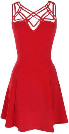 "Red Cutout Strap Dress. Amazing bright red dress with cutout strapping top. Casual or dressy! 95% Polyester, 5% Spandex. Length: 33.5"" from shoulder to hem. Runs true to size. #ustrendy www.ustrendy.com"