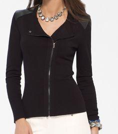 57b21c2ea NWT Cache Black Crepe Zipper Jacket Sexy Dress Top 6 8 10 12 S- M - L | eBay