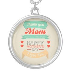 Happy Mother's day typography design Necklaces