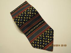 Perry Ellis Portfolio 100% Silk Men's Tie Blue Burgundy Gold