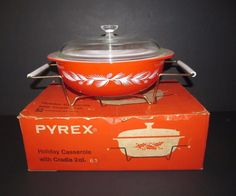 Vintage 1960 Pyrex Holiday Casserole Red White Pinecones Complete Original Box #Pyrex