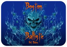Boston Hot Sauce. As hot as it gets. Power to this logo design. Love the skulls. Food logo design with a difference.
