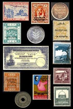 Palestinian stamps and currencies