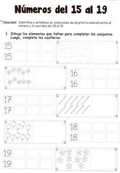 Números del 15 al 19: Identifica y establece en colecciones de objetos la relación entre el número y la cantidad del 15 al 19.