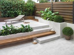 GRL Added Like the planter, and floating stair/seat in wood. Is there a material other than wood that can be used, but looks like wood? maybe use reclaimed wood from garage (red wood) spanischer Mirage Deco White Outdoor Rooms, Outdoor Living, Outdoor Decor, Outdoor Cafe, Backyard Patio, Backyard Landscaping, Modern Landscaping, Modern Backyard Design, Concrete Patio