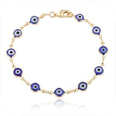 Gold Plated 18k Evil Eye Dark Blue Bracelet. 7.5 Inches by Big Illusion Jewelry Pack -- Awesome products selected by Anna Churchill