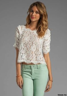 Blusas blancas de encaje moda casual elegante