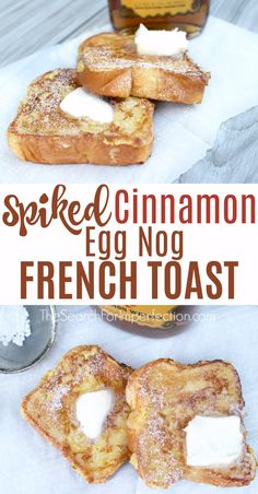 Spiked Cinnamon Eggnog French Toast This would be the perfect holiday breakfast or brunch. Cinnamon eggnog French toast, so decadent! French Toast Brunch Recipe, Eggnog French Toast, Cinnamon French Toast, Breakfast Toast, Breakfast Recipes, Breakfast Ideas, Breakfast Dishes, Ideas Tostadas, Brownies