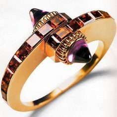 Handcuff Bracelet 1939 yellow gold, citrines and amethysts. Cartier.