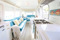 Love tiny spaces with big style? Get hitched with an airstream. Check out the before and after photos of the airstream by Lynne Knowlton!