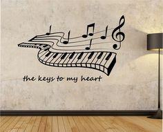 Piano Wall Decal KEYS TO My HEART  vinyl Sticker Art Decor Bedroom Design Mural school educational artist musician home decor wall decor by StateOfTheWall on Etsy https://www.etsy.com/listing/236581175/piano-wall-decal-keys-to-my-heart-vinyl
