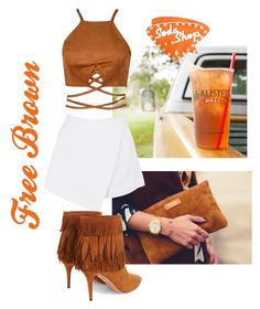 """Free brown with high heels and sexy"" by fashionvivianguo ❤ liked on Polyvore featuring BeginAgain Toys, Aquazzura, Dot & Bo, brown, free and fringes"