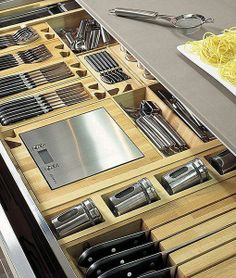 55 Smart Innovative Kitchen Island Ideas and Designs to Makeover Your Home - Contemporary Modern Kitchen Small Kitchen Ideas, DIY, Kitchen Remodel - Designblaz Kitchen Drawer Organization, Diy Kitchen Storage, Smart Kitchen, Kitchen Drawers, New Kitchen, Kitchen Dining, Kitchen Decor, Kitchen Ideas, Island Kitchen