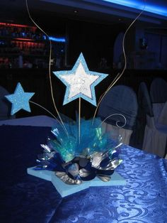 Change one color Star Centerpieces, Graduation Party Centerpieces, Quinceanera Centerpieces, Graduation Decorations, Star Wars Party, Star Party, Sweet 16 Parties, Grad Parties, Night To Shine